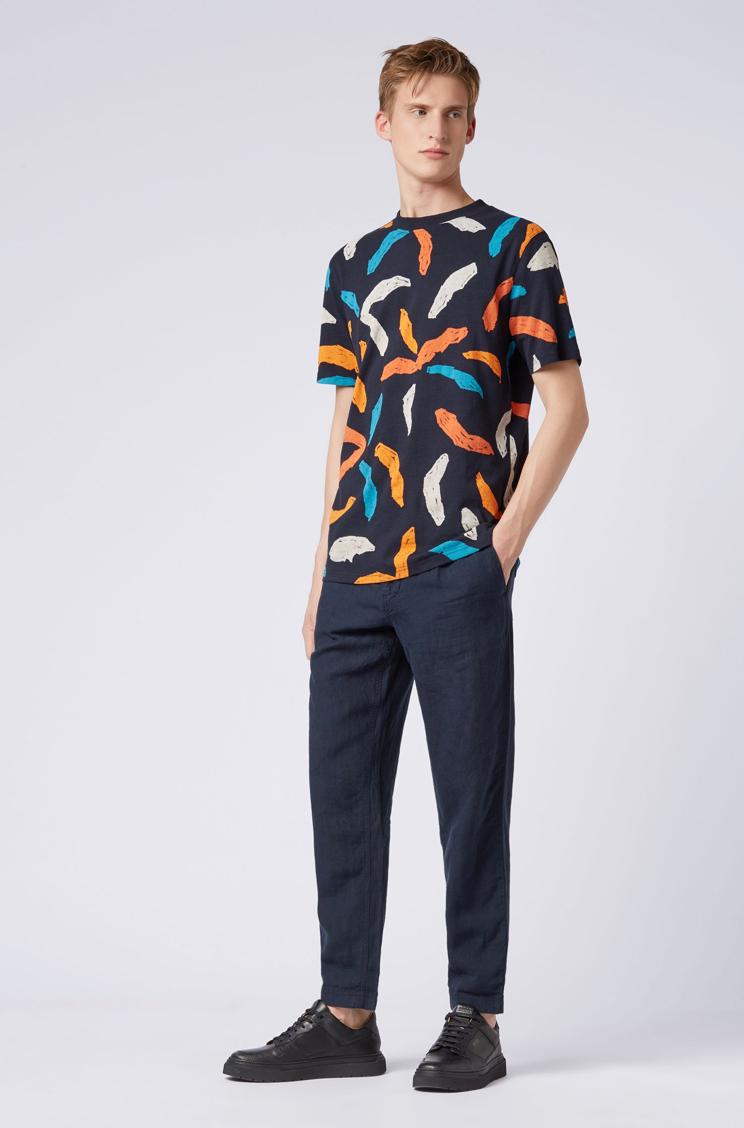 Relaxed-fit T-shirt met abstracte palmprint, Donkerblauw