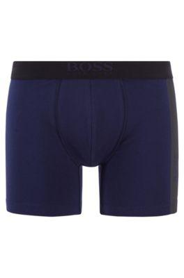 Stretch-cotton boxer briefs with vertical logo print, Dark Blue