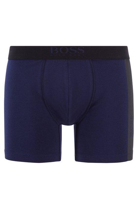 Boxer long en coton stretch à logo imprimé vertical, Bleu foncé