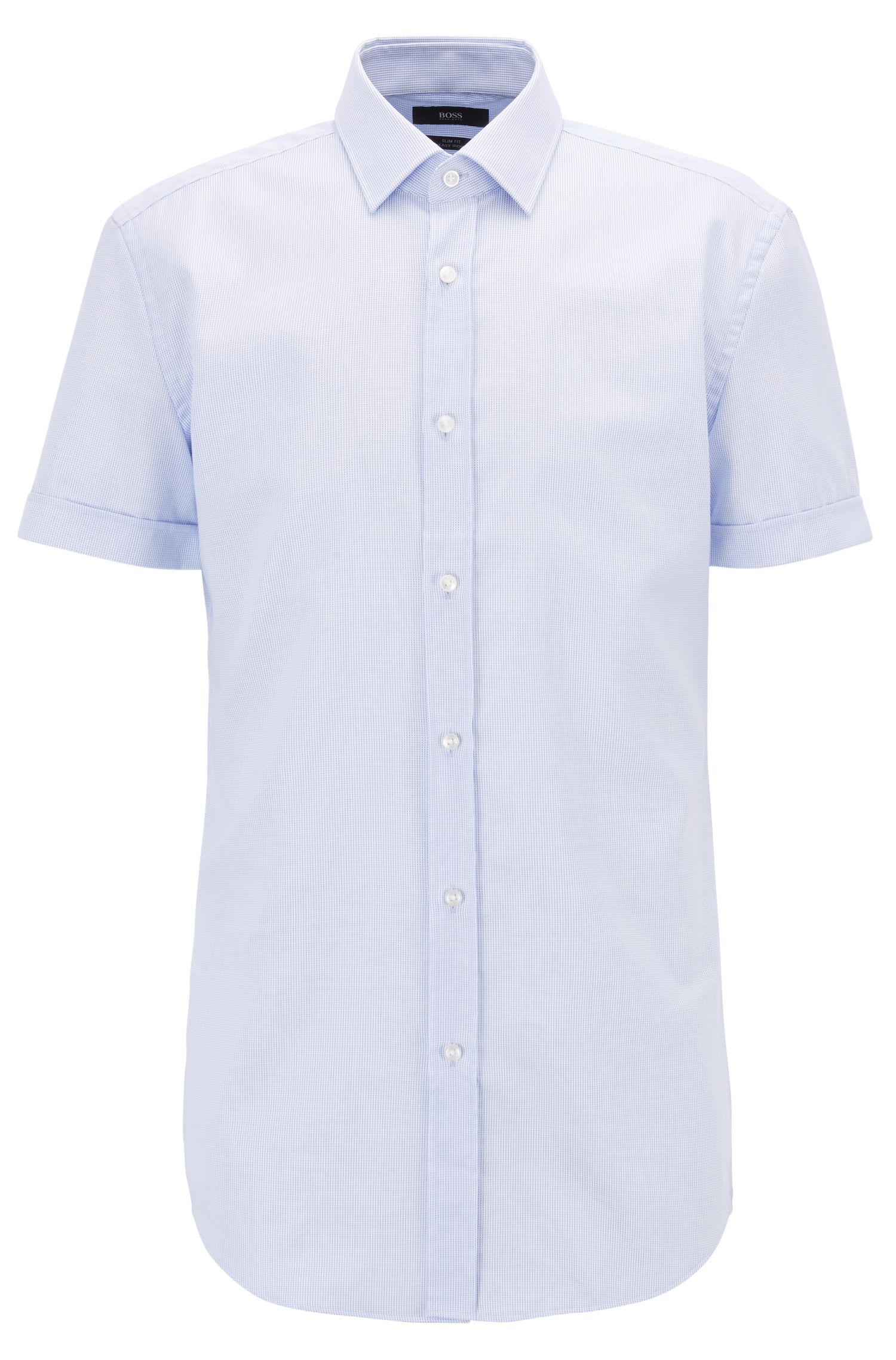 Short-sleeved slim-fit shirt in easy-iron structured cotton, Light Blue
