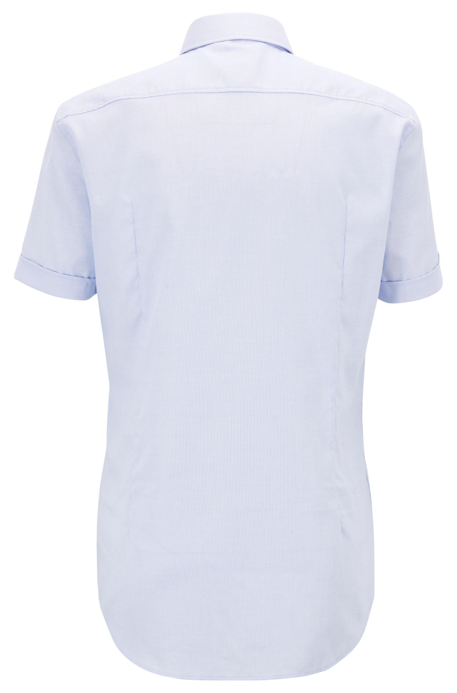 Camicia a maniche corte slim fit in cotone lavorato facile da stirare, Celeste