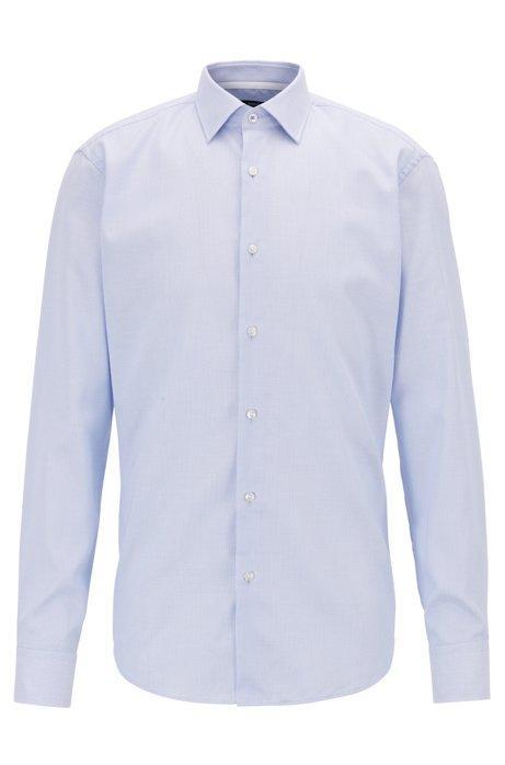 Camisa regular fit de planchado fácil con detalles interiores en contraste, Celeste