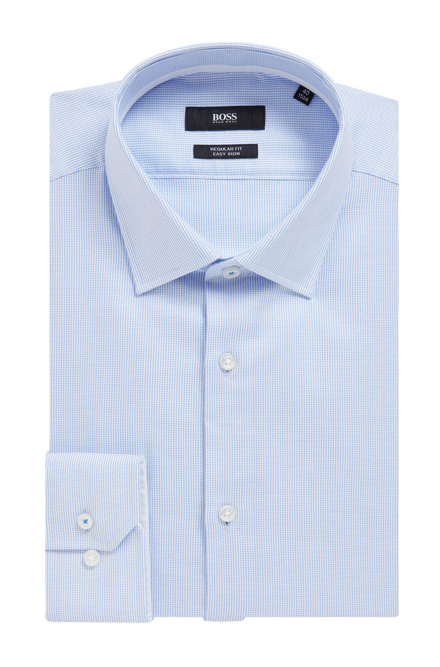 Camicia regular fit facile da stirare con dettagli interni a contrasto, Celeste
