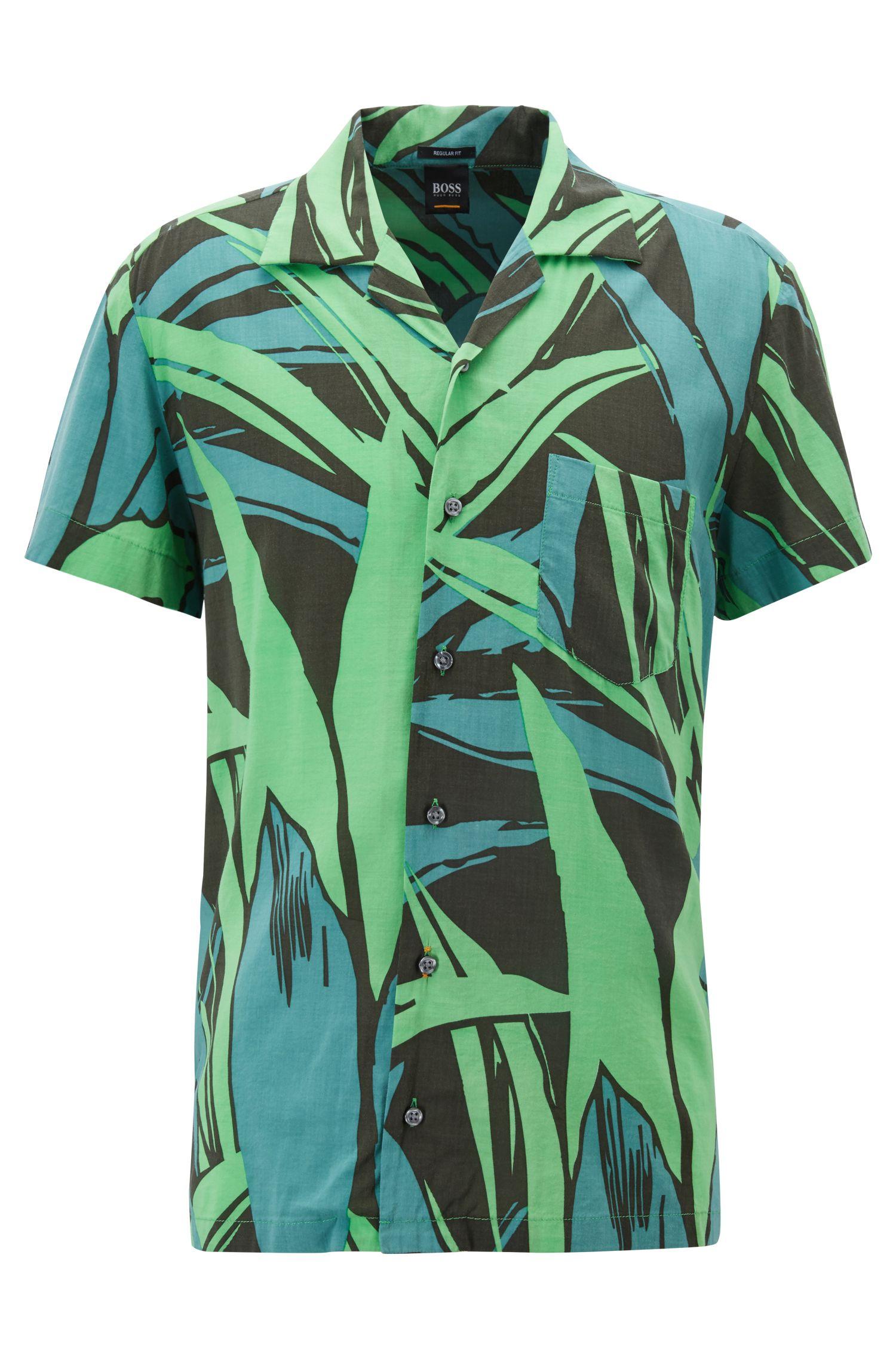 Bedrucktes Regular-Fit Hemd mit Grafik-Print, Grün