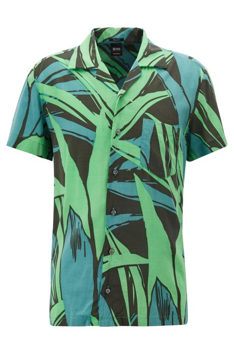 Regular-fit short-sleeved shirt with graphic print, Green