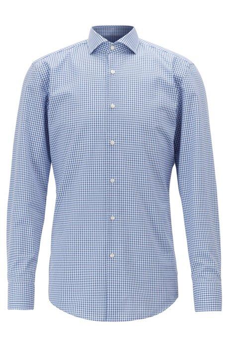 Slim-Fit Hemd aus bügelleichter Baumwolle mit Vichykaro , Dunkelblau