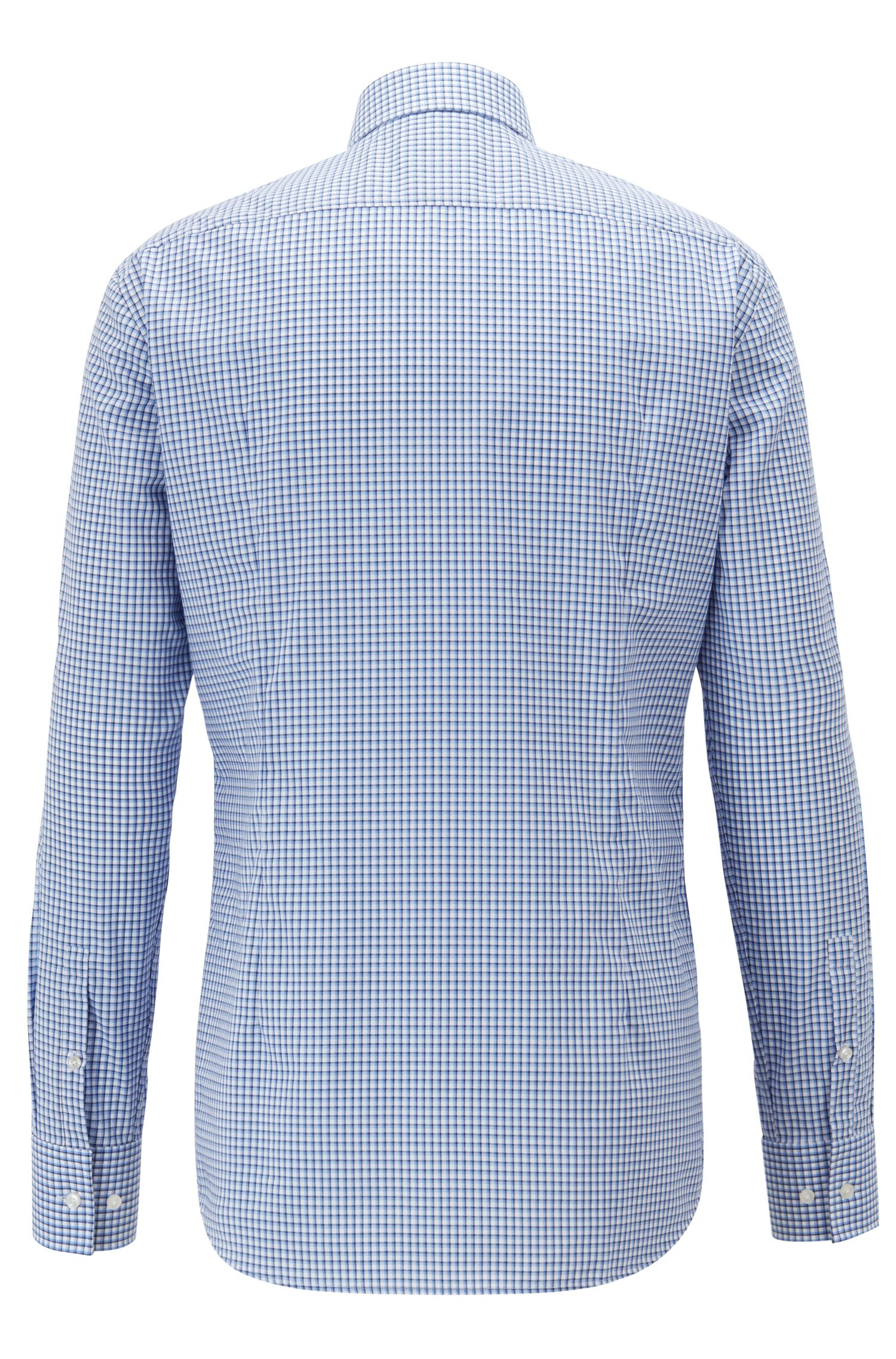 Slim-fit easy-iron shirt with gingham , Dark Blue