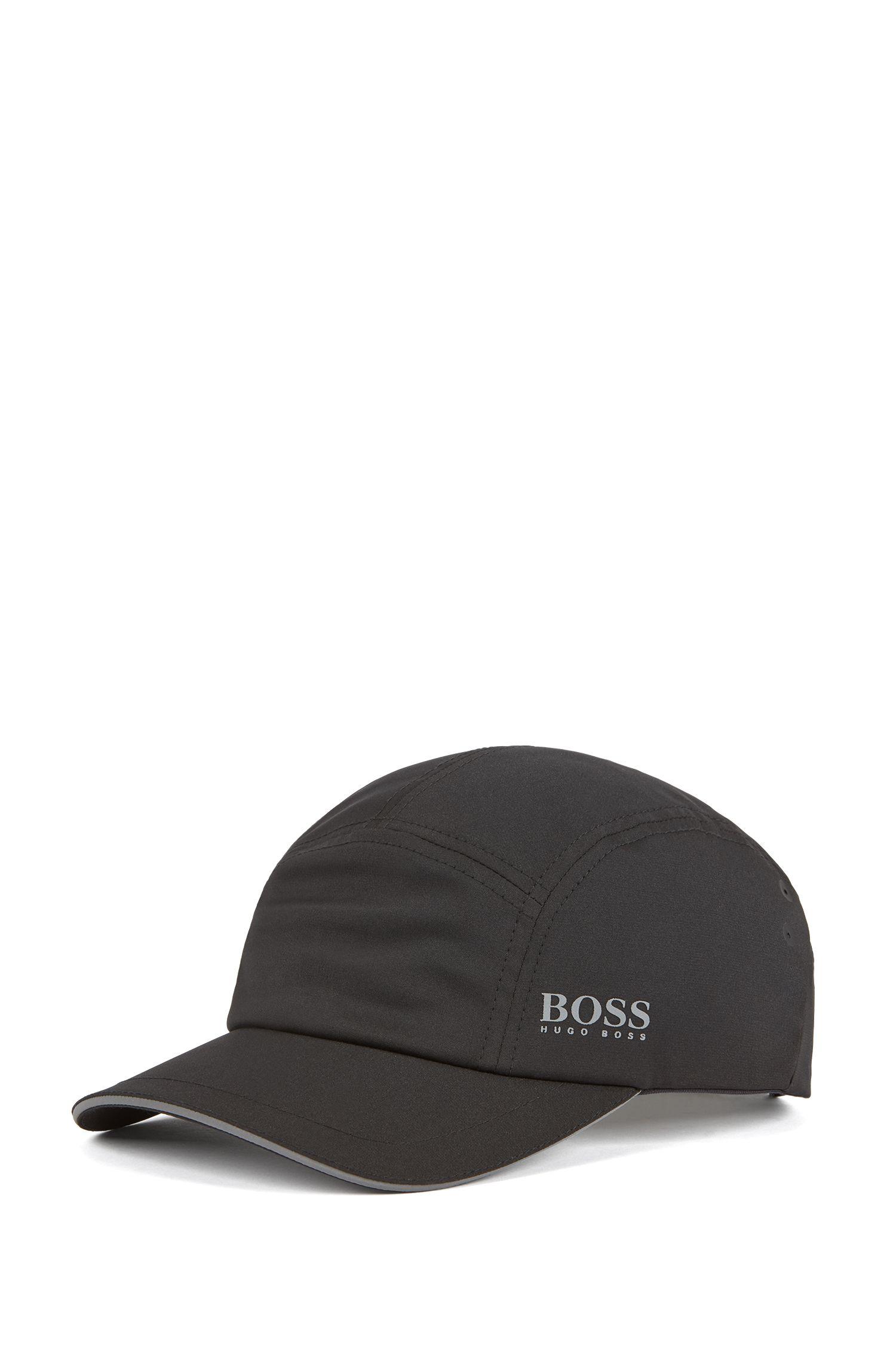 Cropped-visor cap with reflective details, Black
