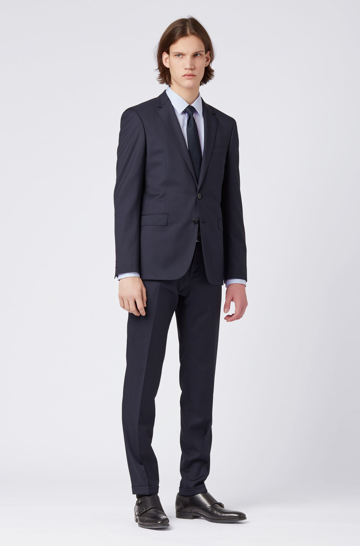 Regular-Fit Hemd aus bügelleichter Baumwoll-Popeline mit Streifen, Hellblau