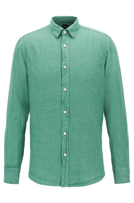 Regular-Fit Hemd aus pigmentgefärbter Leinen-Popeline, Hellgrün