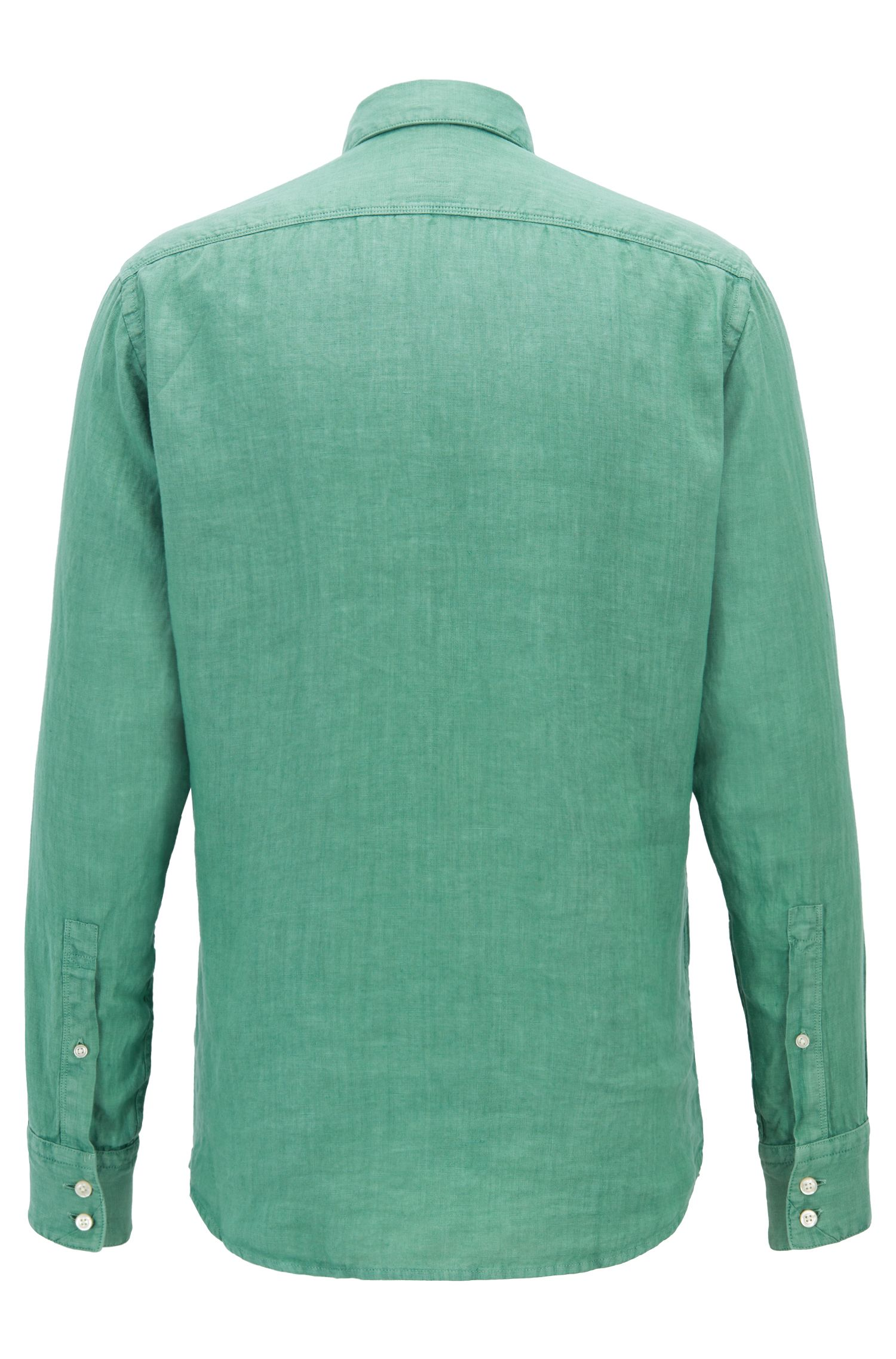 Regular-fit overhemd van pigment-dyed linnen popeline, Kalk