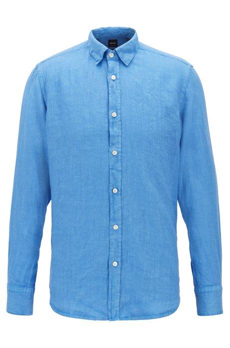 Regular-Fit Hemd aus pigmentgefärbter Leinen-Popeline, Blau