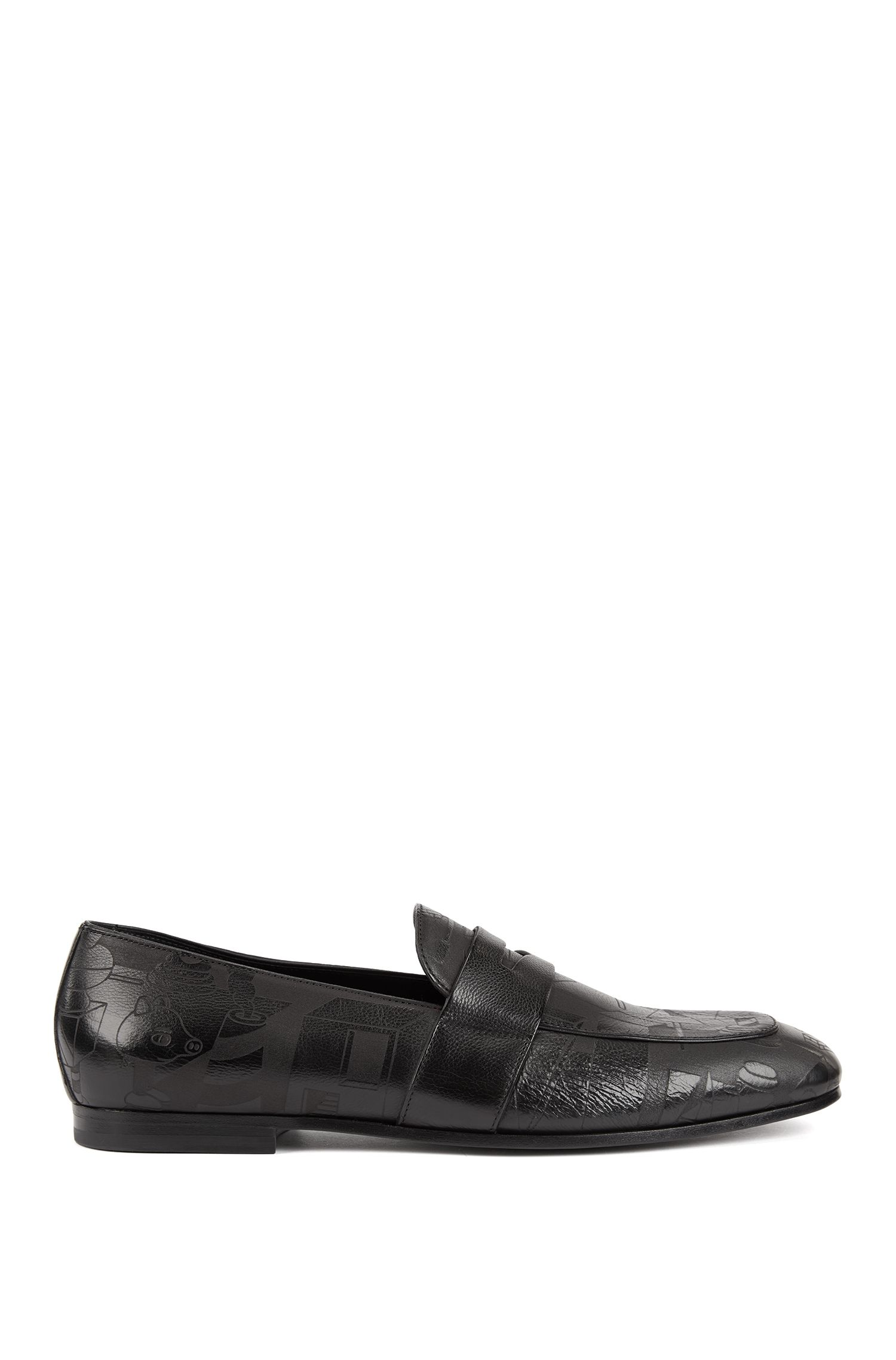 Limited-edition loafers in leather with lasered Jeremyville landscape, Black