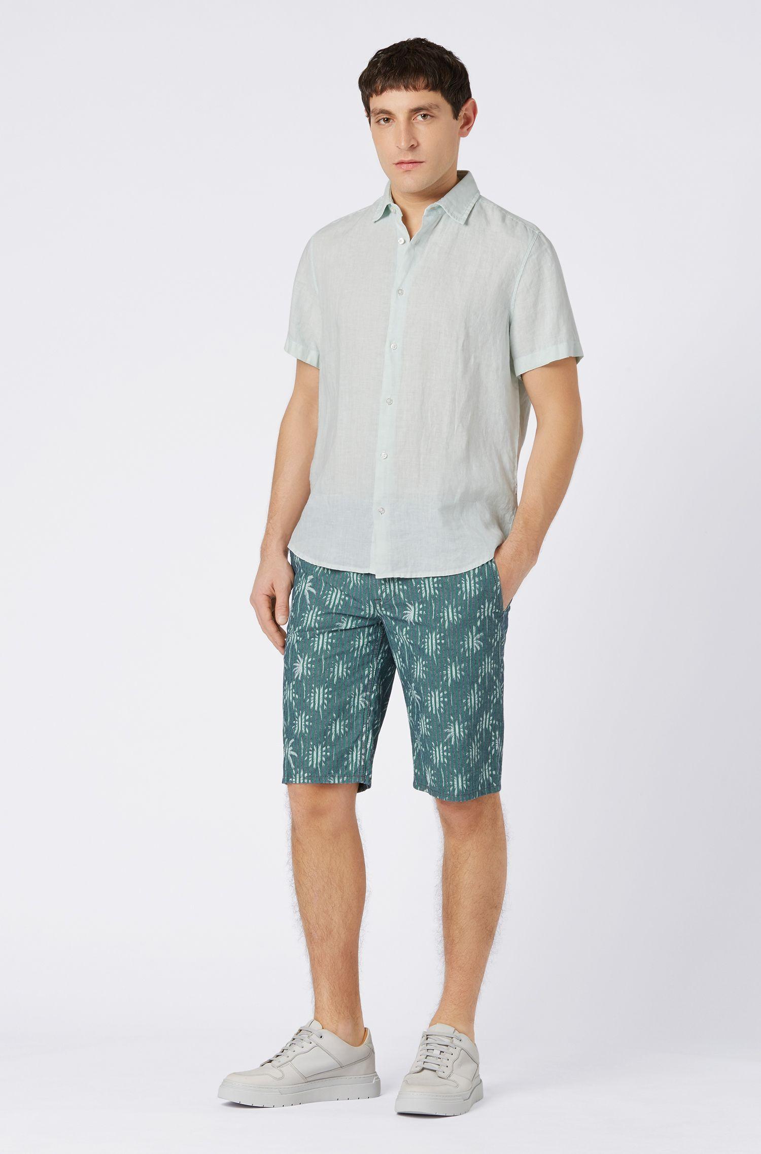Regular-fit short-sleeved shirt in linen poplin, Light Green