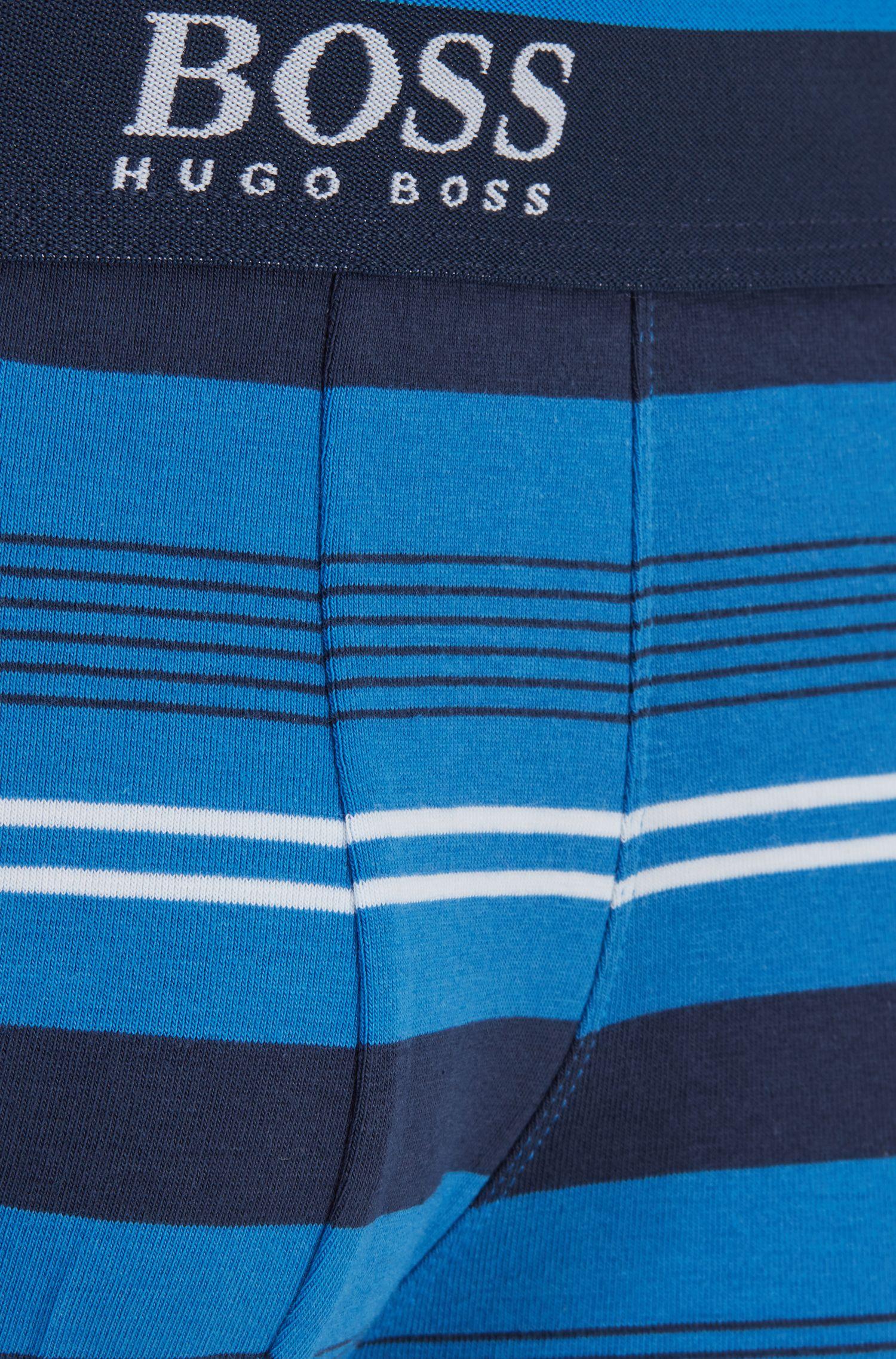 Boxer court en coton mélangé, à la coupe droite, Bleu