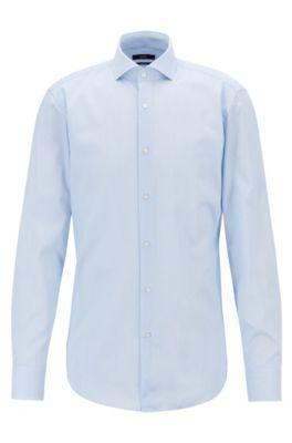 Chemise Slim Fit en twill de coton à fines rayures, Bleu vif
