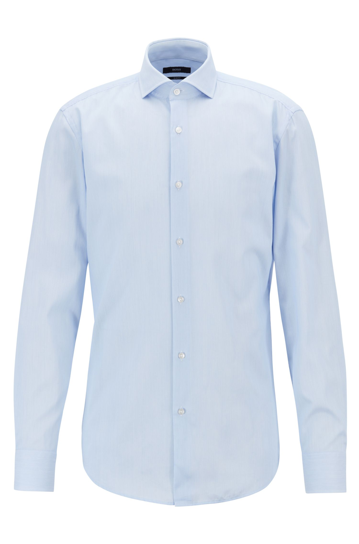 Slim-fit shirt in cotton twill with fine stripes, Light Blue
