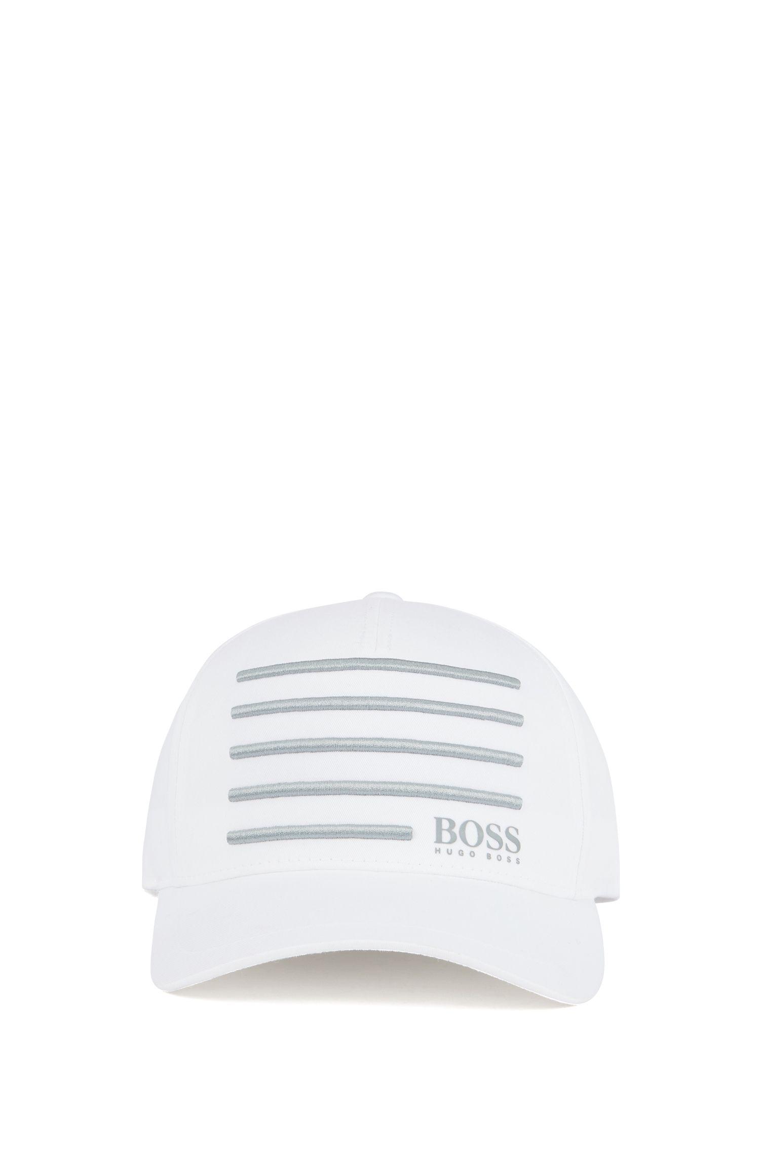 Cap mit gestickten Streifen in 3D-Optik, Weiß