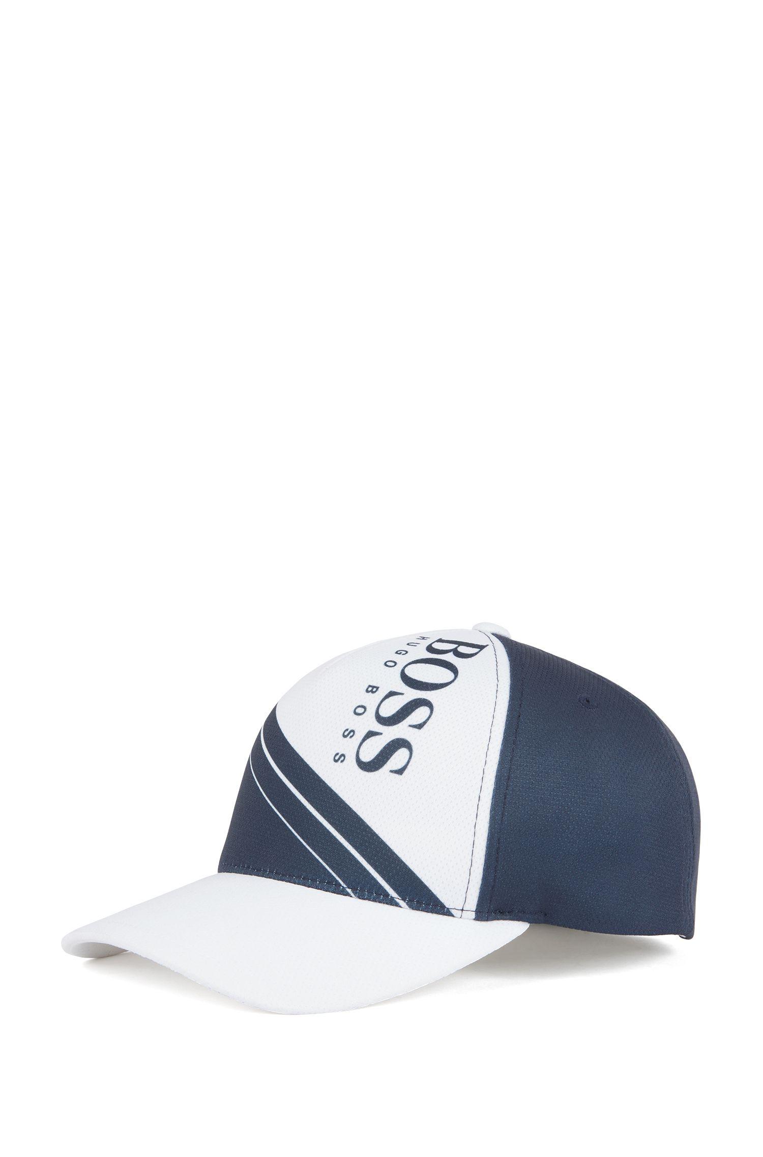 Gorra de tejido de panal ligero en bloques de colores con logo, Azul oscuro