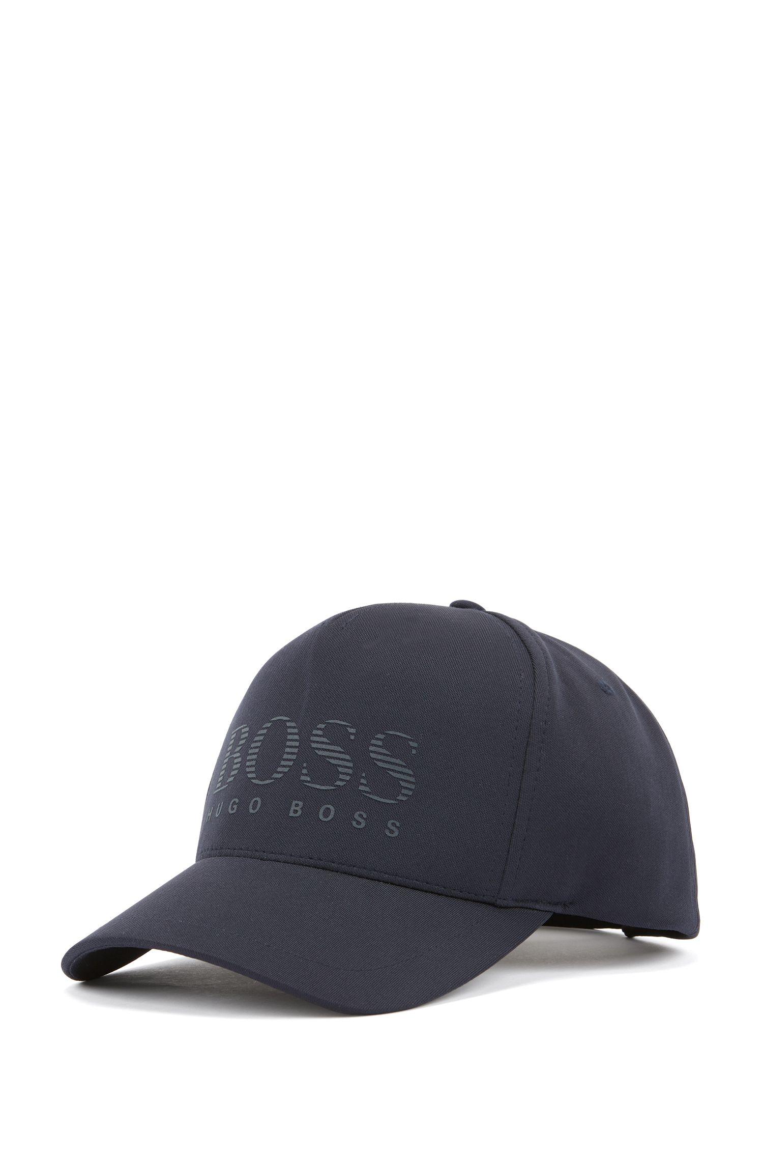 Cap aus Jersey mit gestreiftem Logo als Gummidruck, Dunkelblau