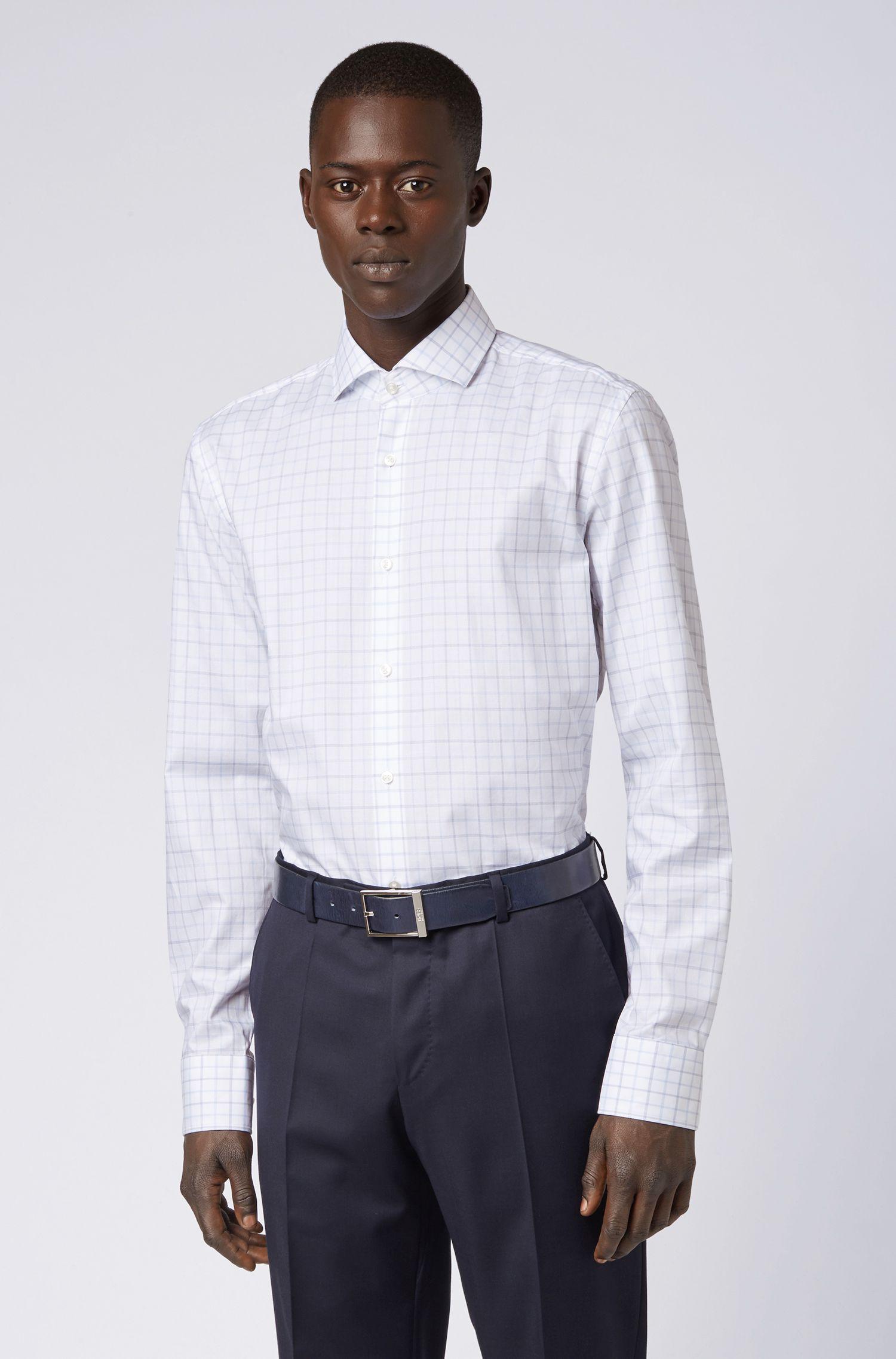 Chemise Slim Fit en twill de coton à carreaux, Bleu