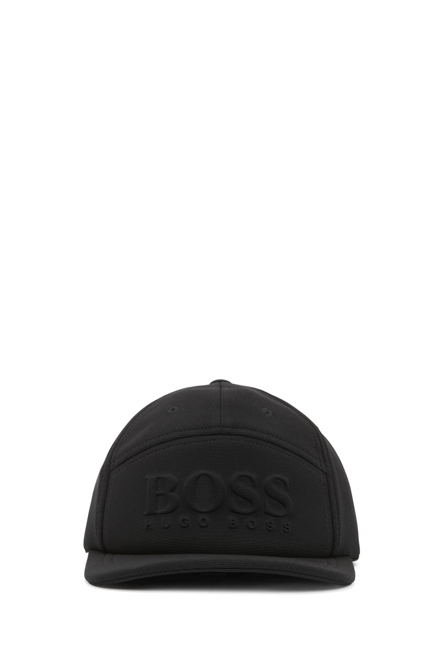 Breathable ottoman fabric cap with embossed logo, Black