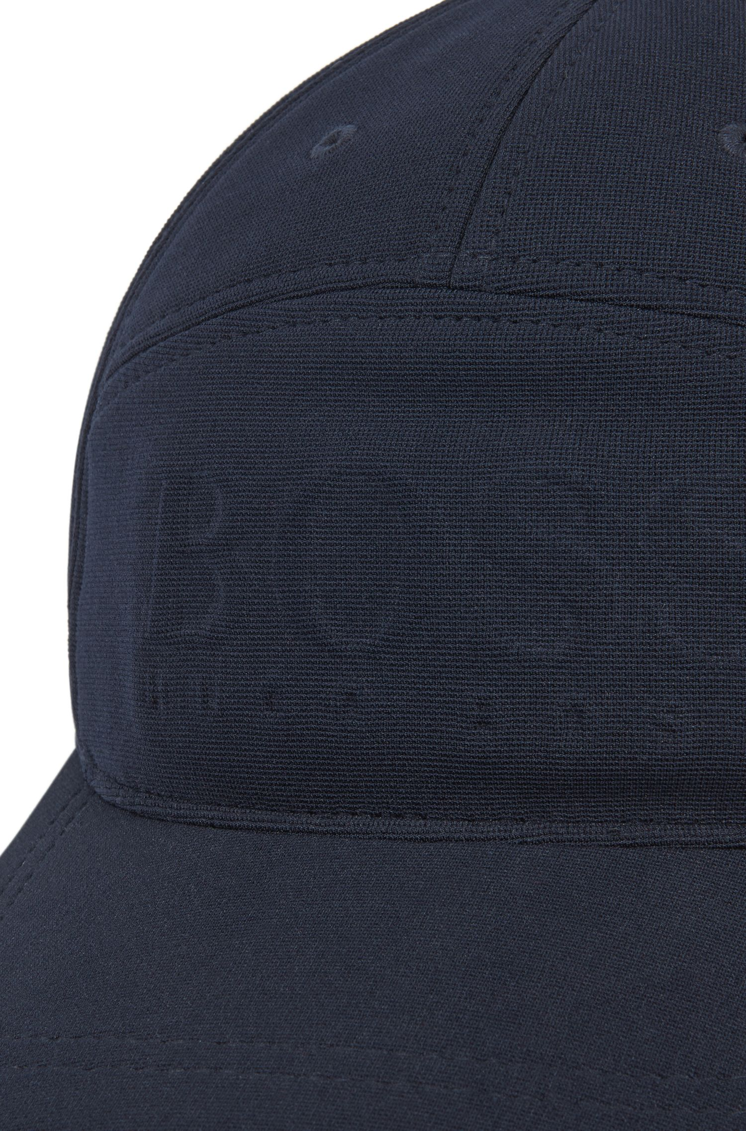 Breathable ottoman fabric cap with embossed logo, Dark Blue