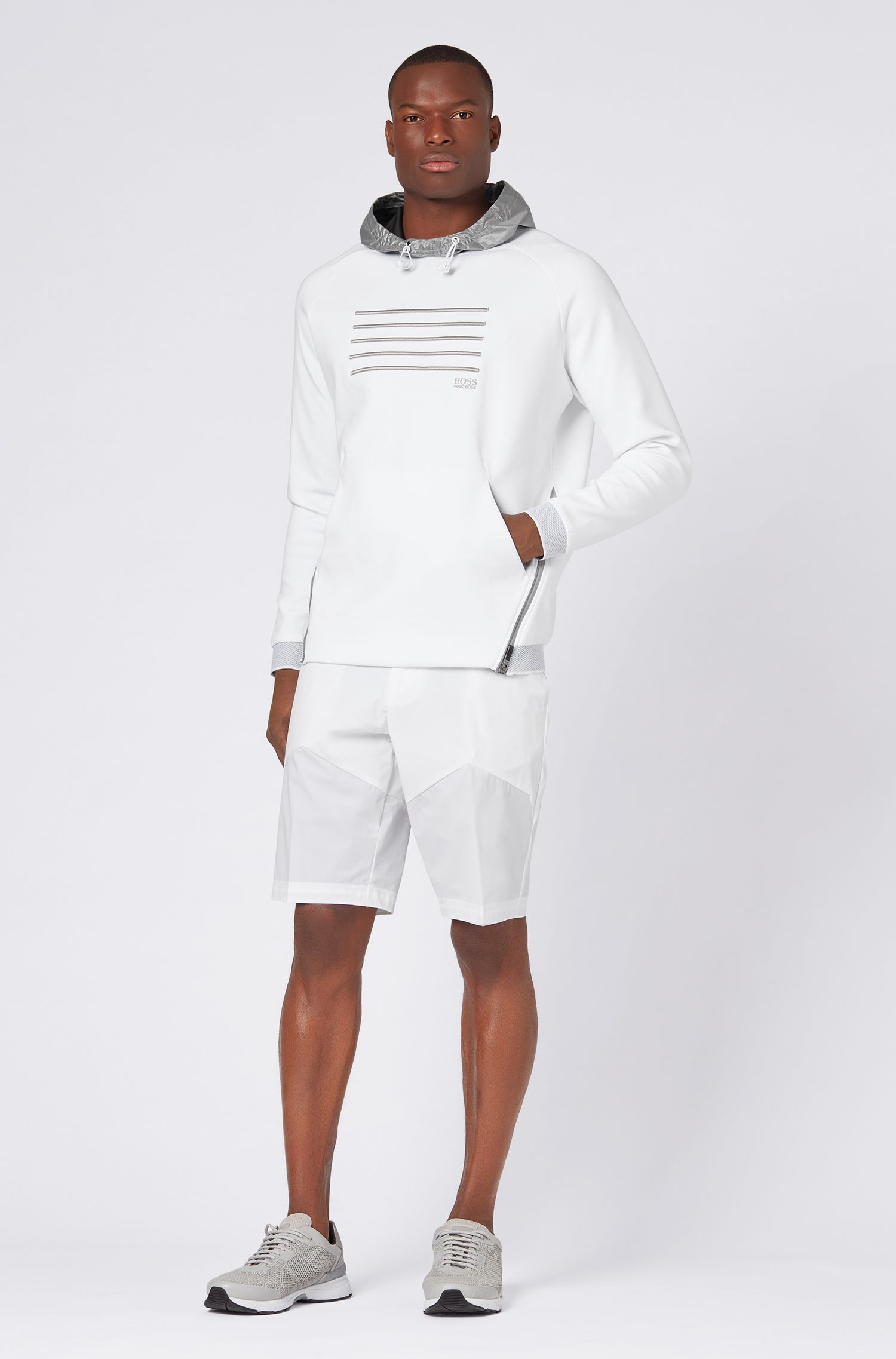 Relaxed-fit sweatshirt with contrast hood and stripe embroidery, White
