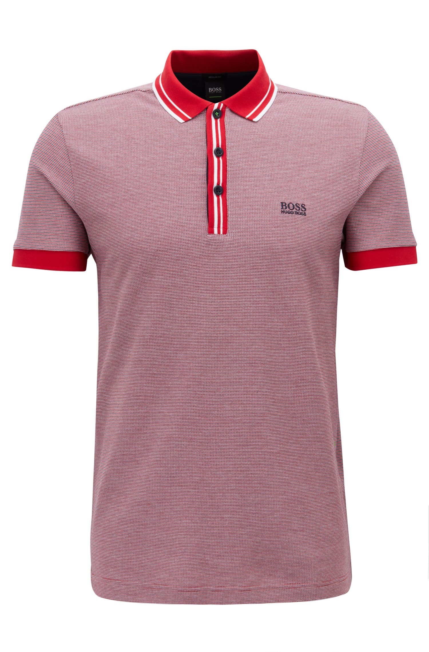 Polo Regular Fit à col et patte de boutonnage rayés, Rouge