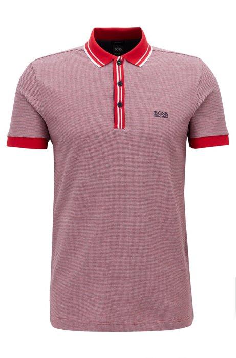 Poloshirt mit Streifen an Kragen und Knopfleiste, Rot
