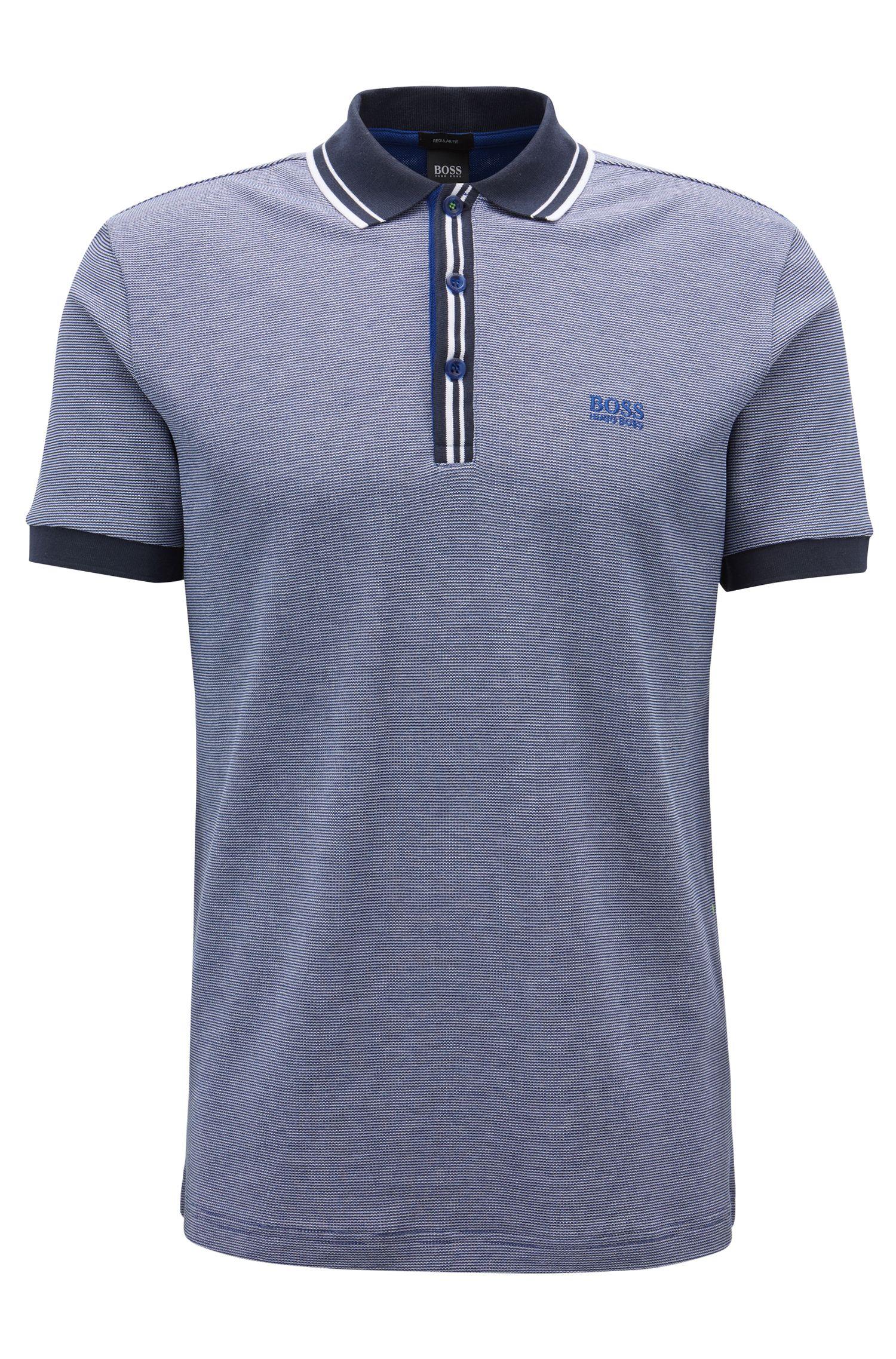 Regular-fit polo met gestreepte kraag en knoopsluiting, Blauw