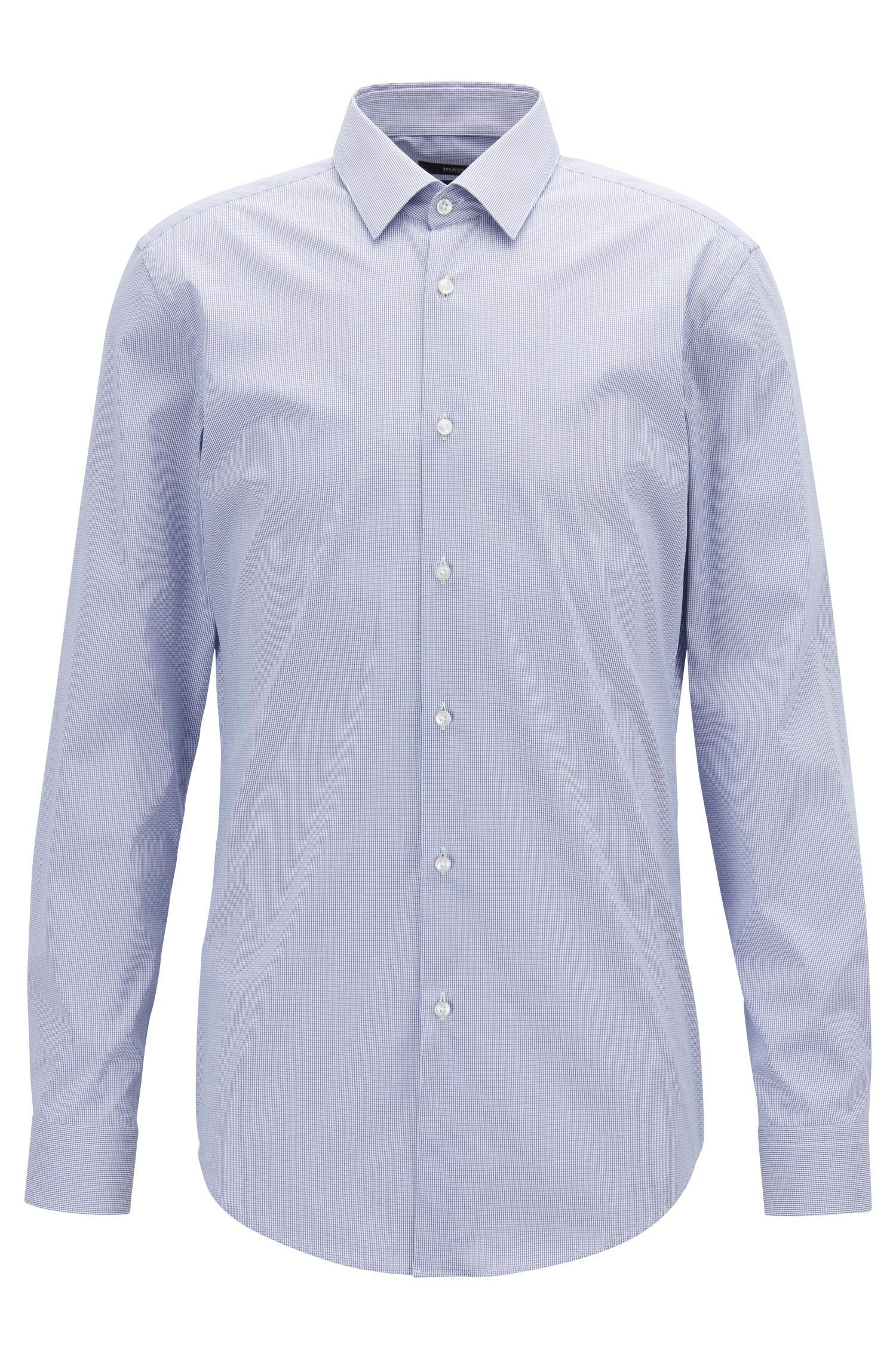 Extra Slim-Fit Hemd aus elastischem Baumwoll-Mix mit Karo-Dessin, Blau