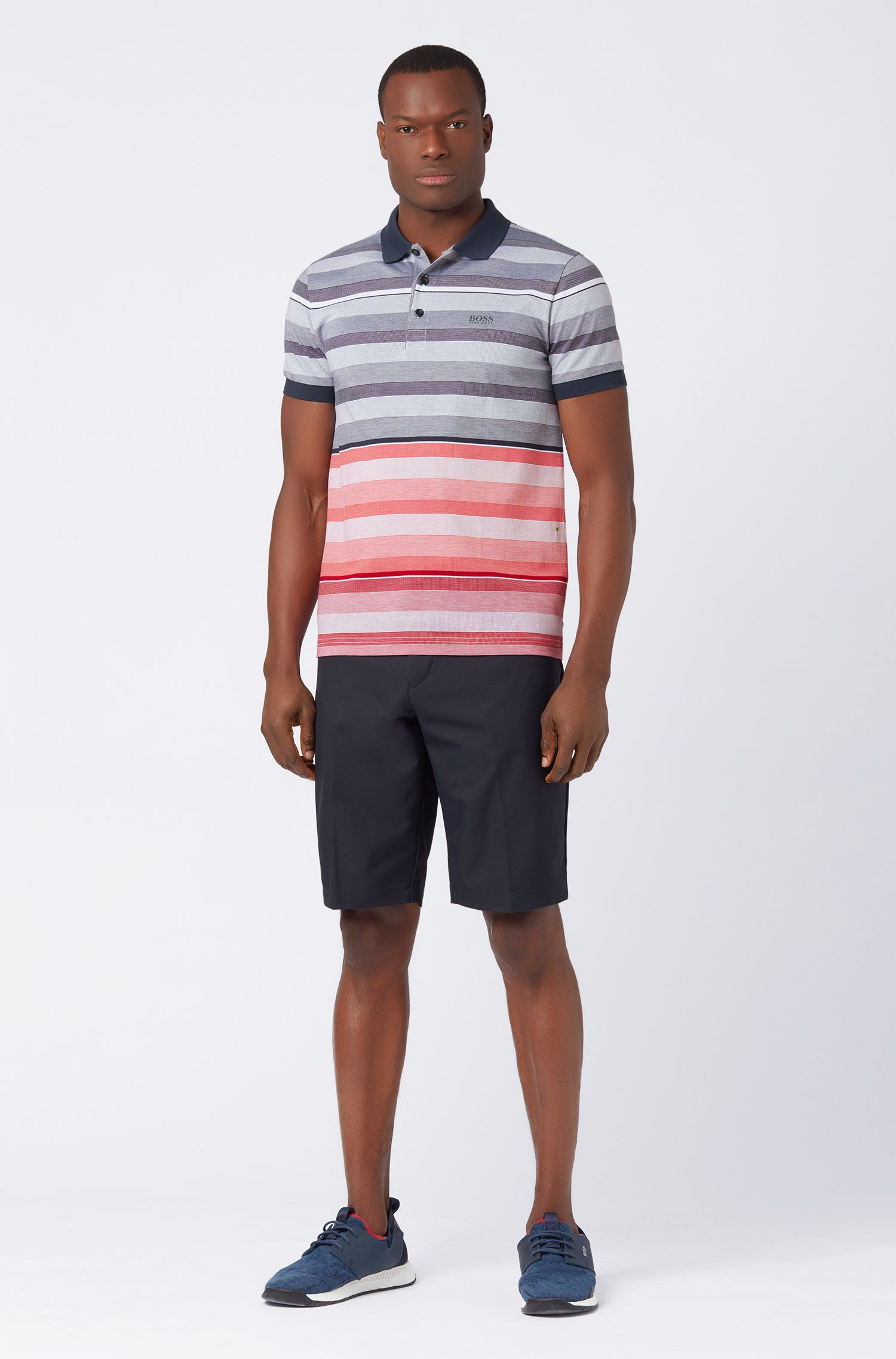Slim-fit polo shirt in striped cotton piqué, Patterned