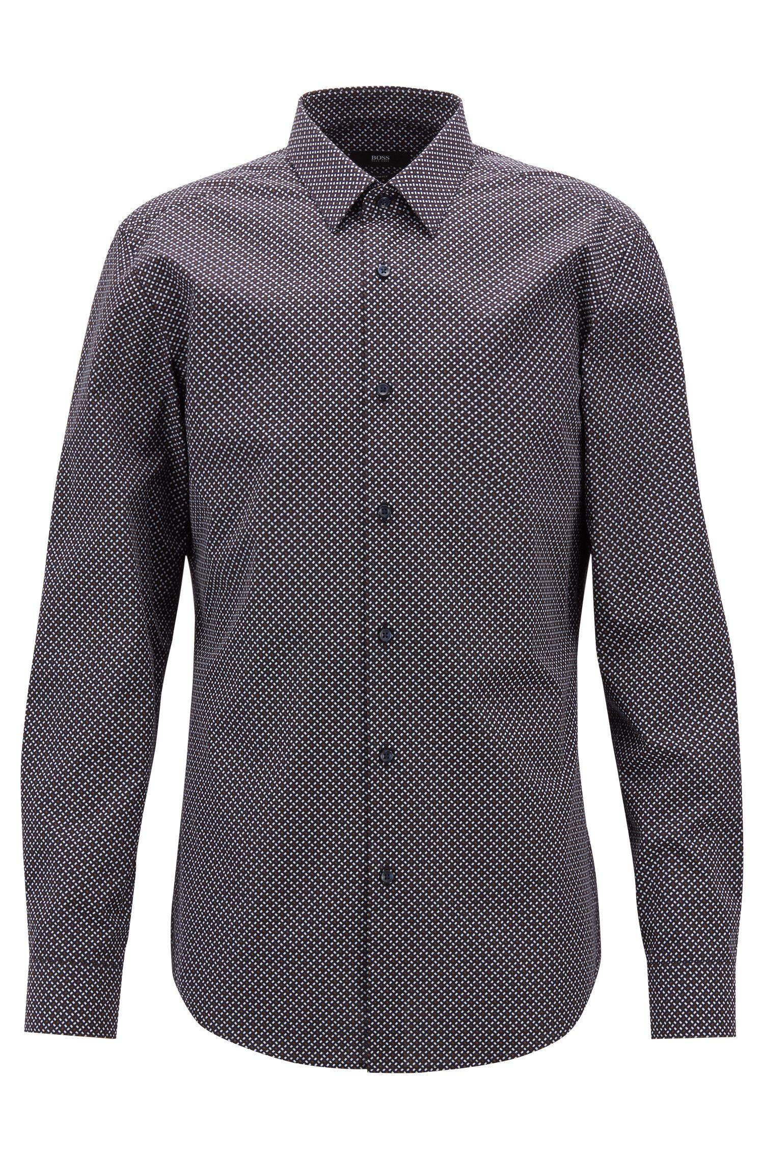Slim-fit shirt in Italian cotton with printed motif, Dark Blue