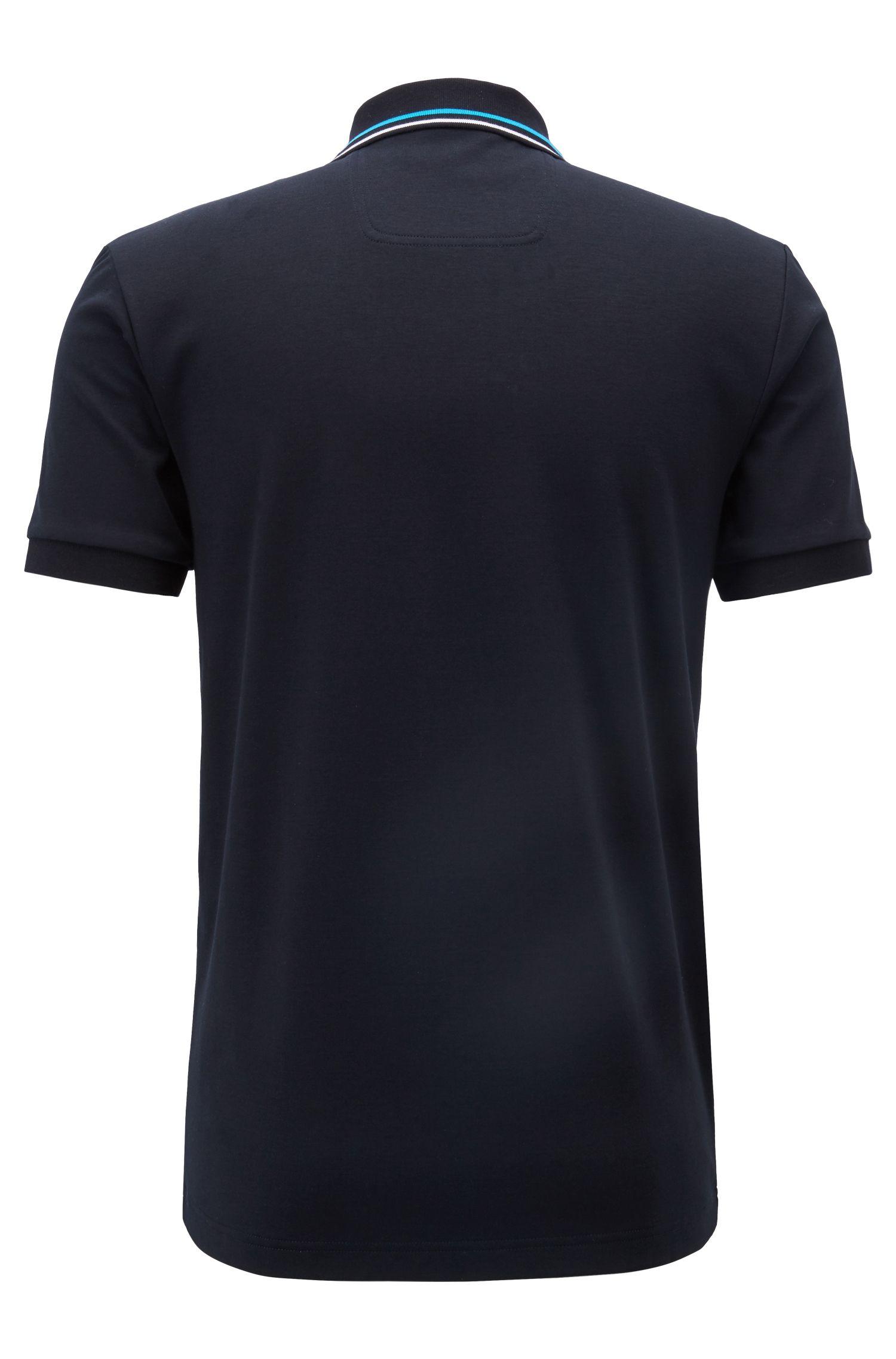 Polo Slim Fit avec finitions rayées, Noir