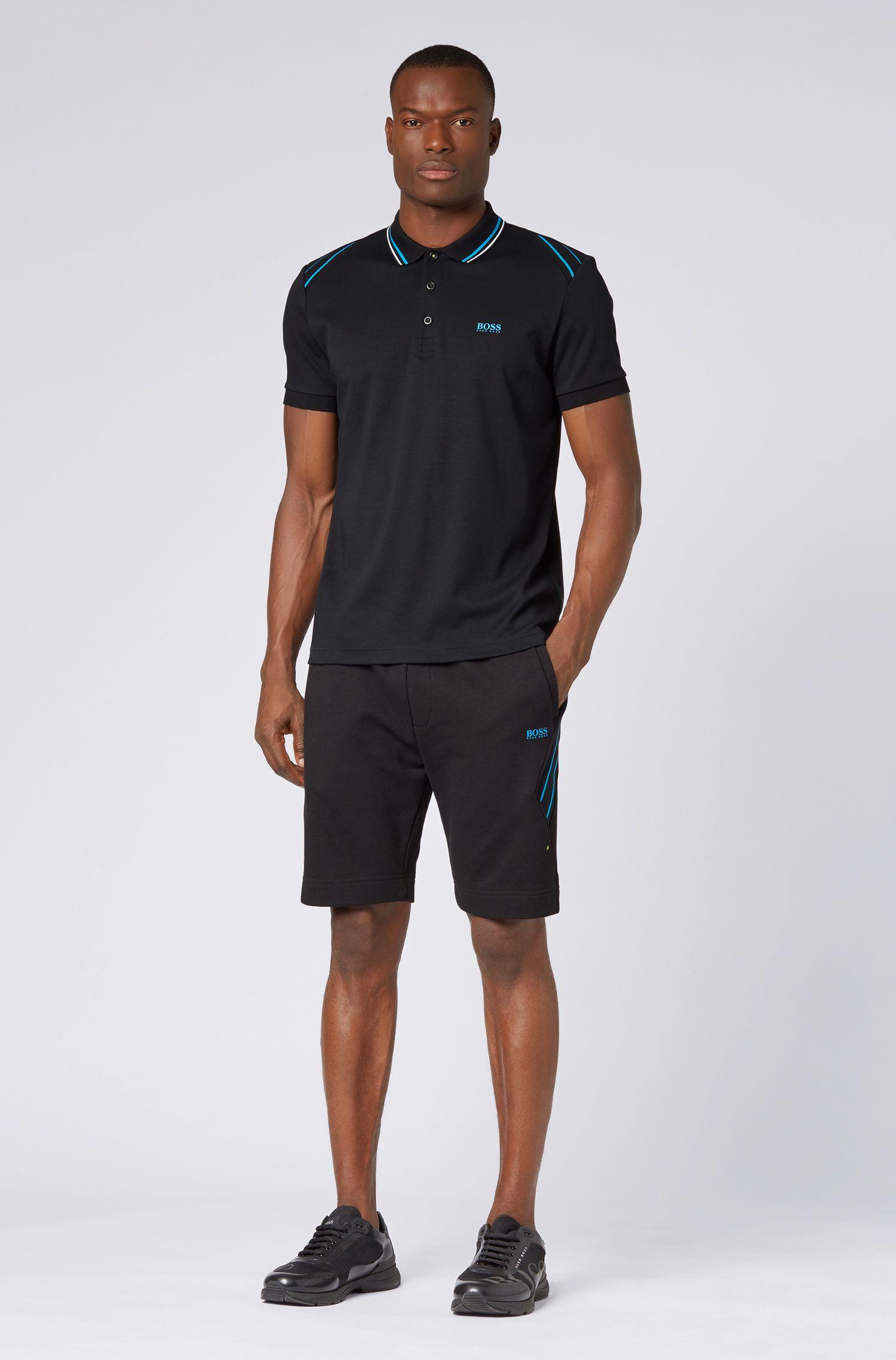 Slim-fit polo shirt with stripe details, Black