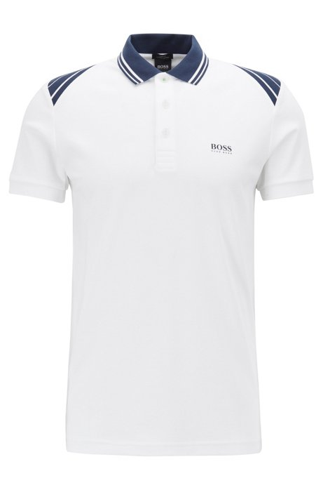 Slim-fit polo shirt with stripe details, White