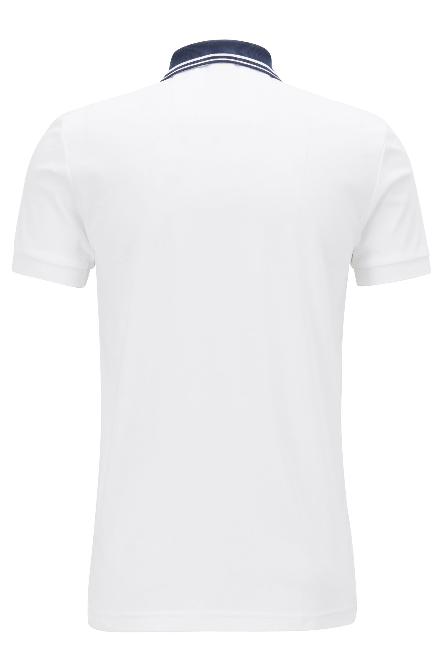 Slim-fit polo met streepdetails, Wit