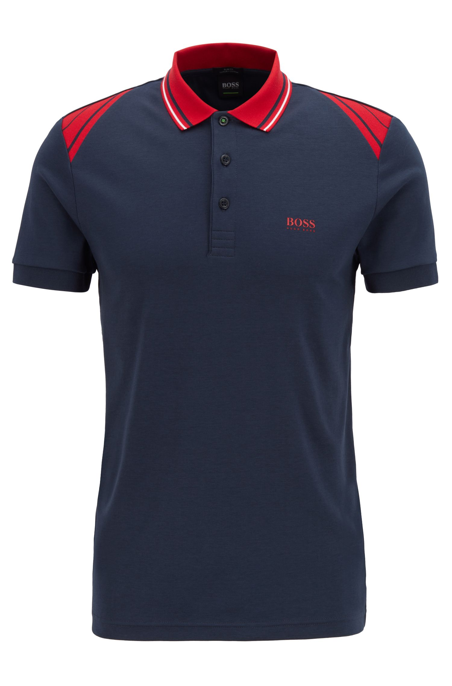 Slim-fit polo shirt with stripe details, Dark Blue