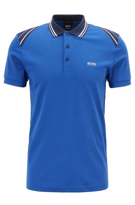 Poloshirt aus Baumwolle mit Streifen, Blau