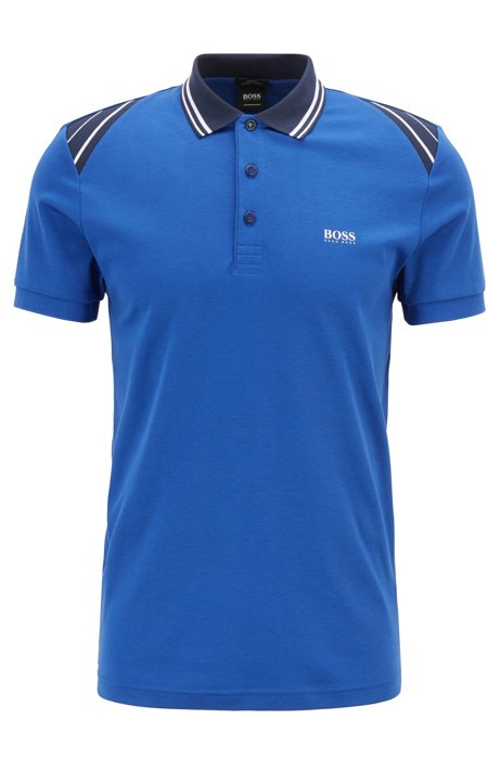 Polo Slim Fit avec finitions rayées, Bleu