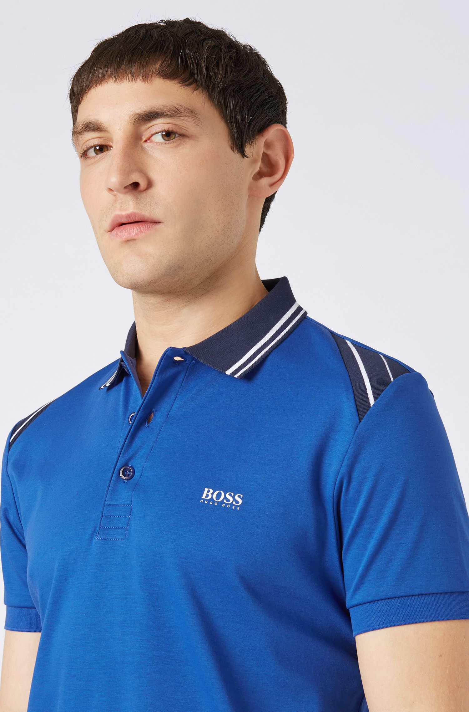 Slim-fit polo shirt with stripe details, Blue