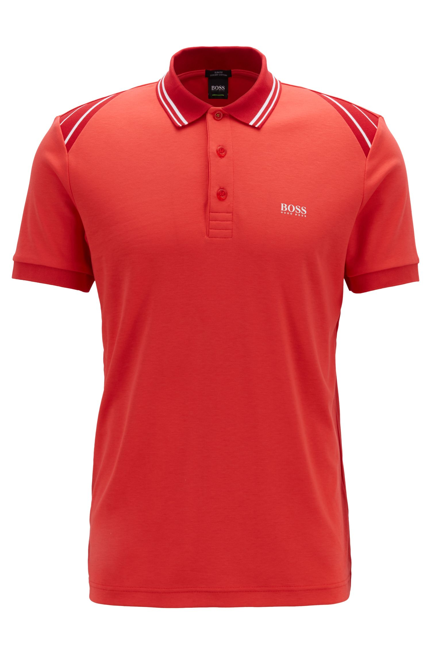 Slim-fit polo shirt with stripe details, Red