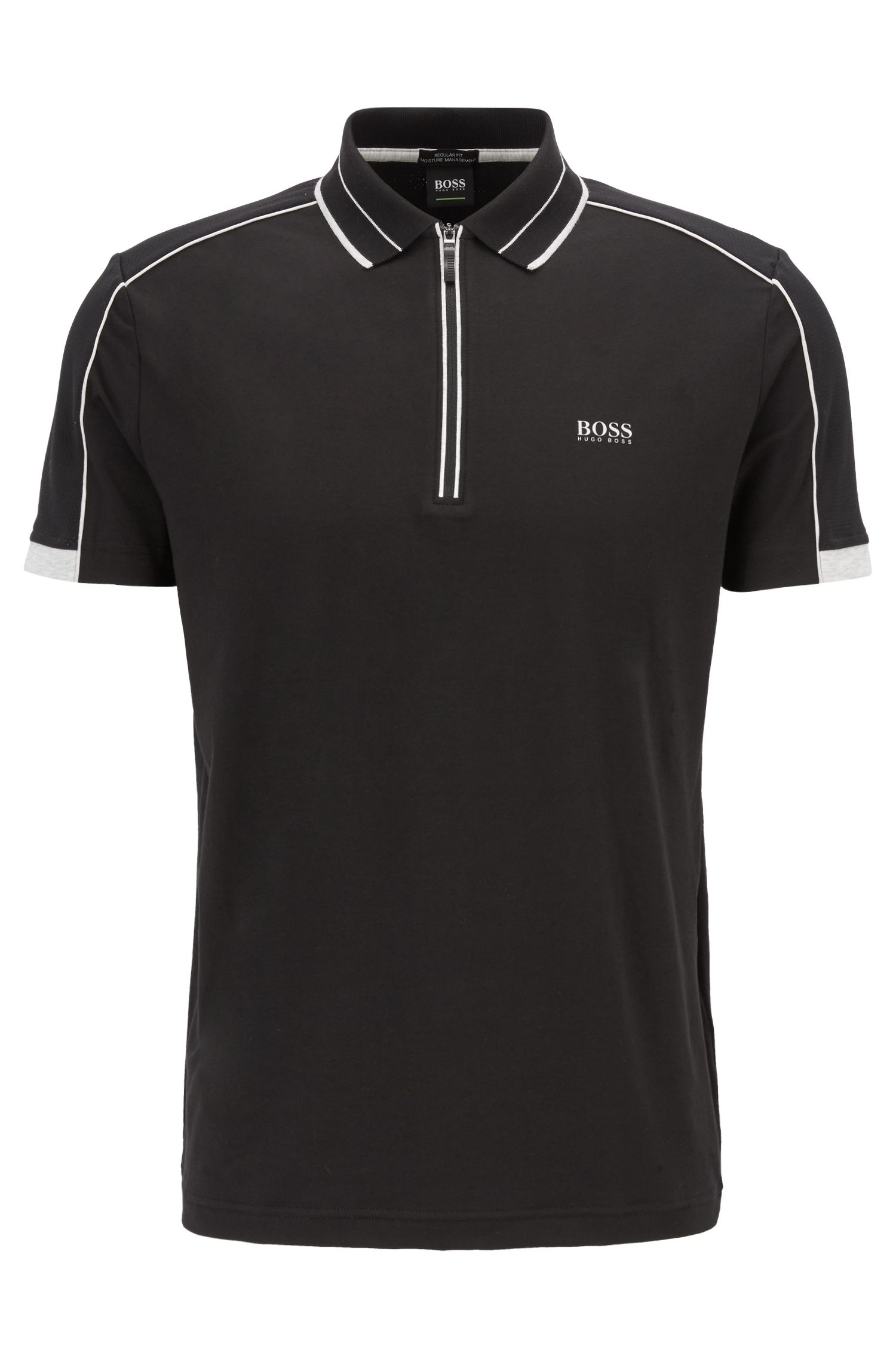 Regular-fit polo van stretchjersey met S.Café®, Zwart