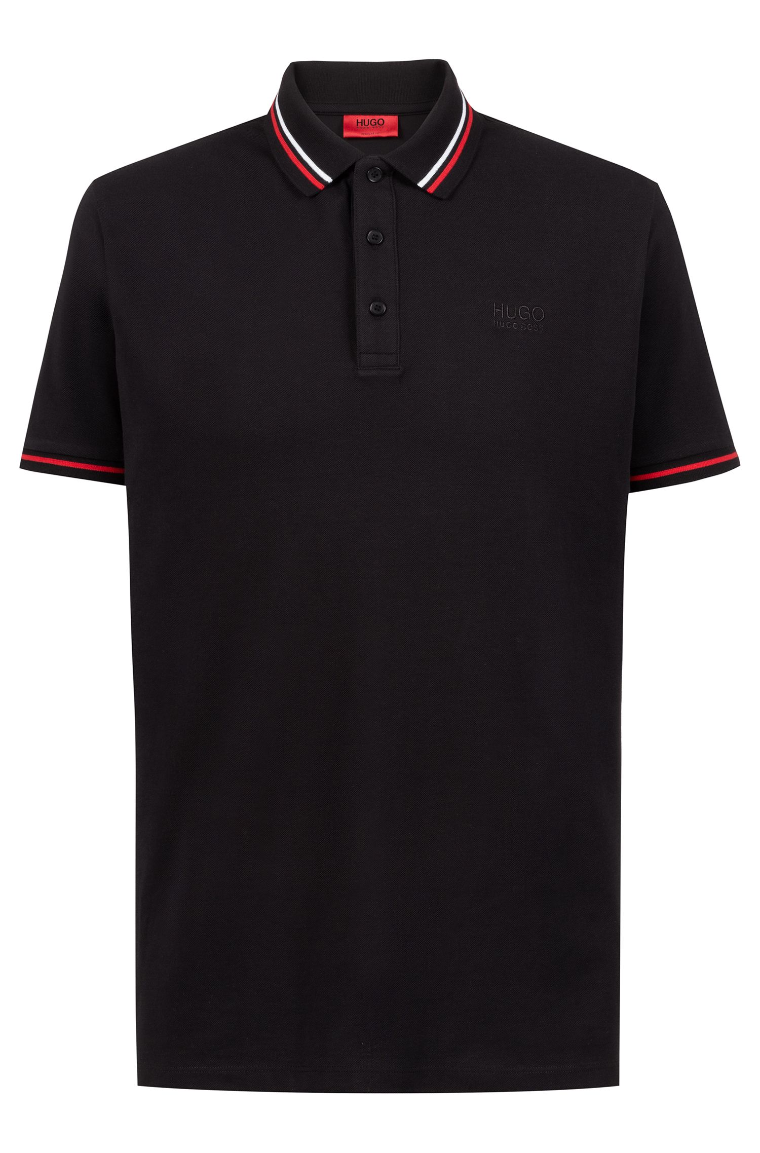 Polo regular fit in cotone con righe a contrasto, Nero
