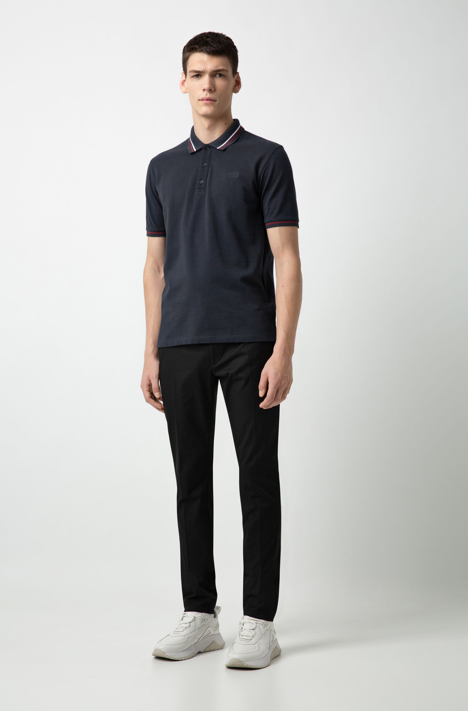 Regular-fit polo shirt in cotton with contrast stripes, Dark Blue