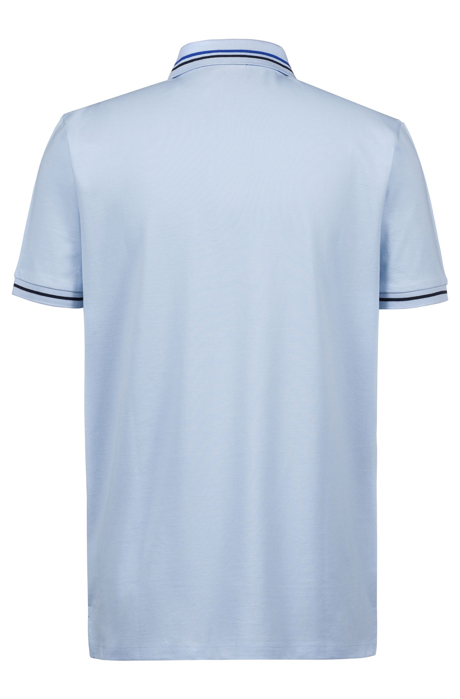 Regular-fit polo shirt in cotton with contrast stripes, Light Blue