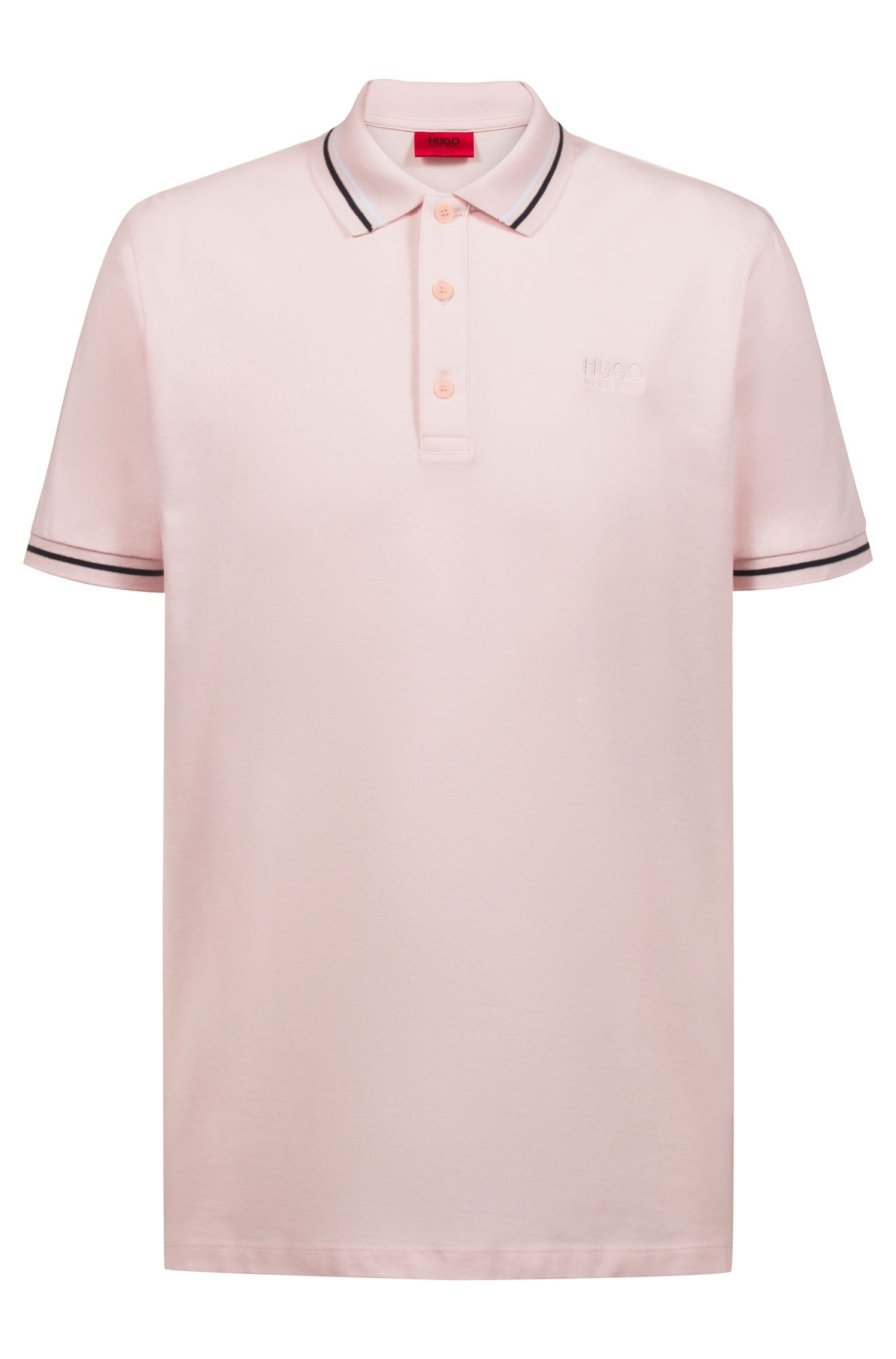 Polo Regular Fit en coton à rayures contrastantes, Rose clair