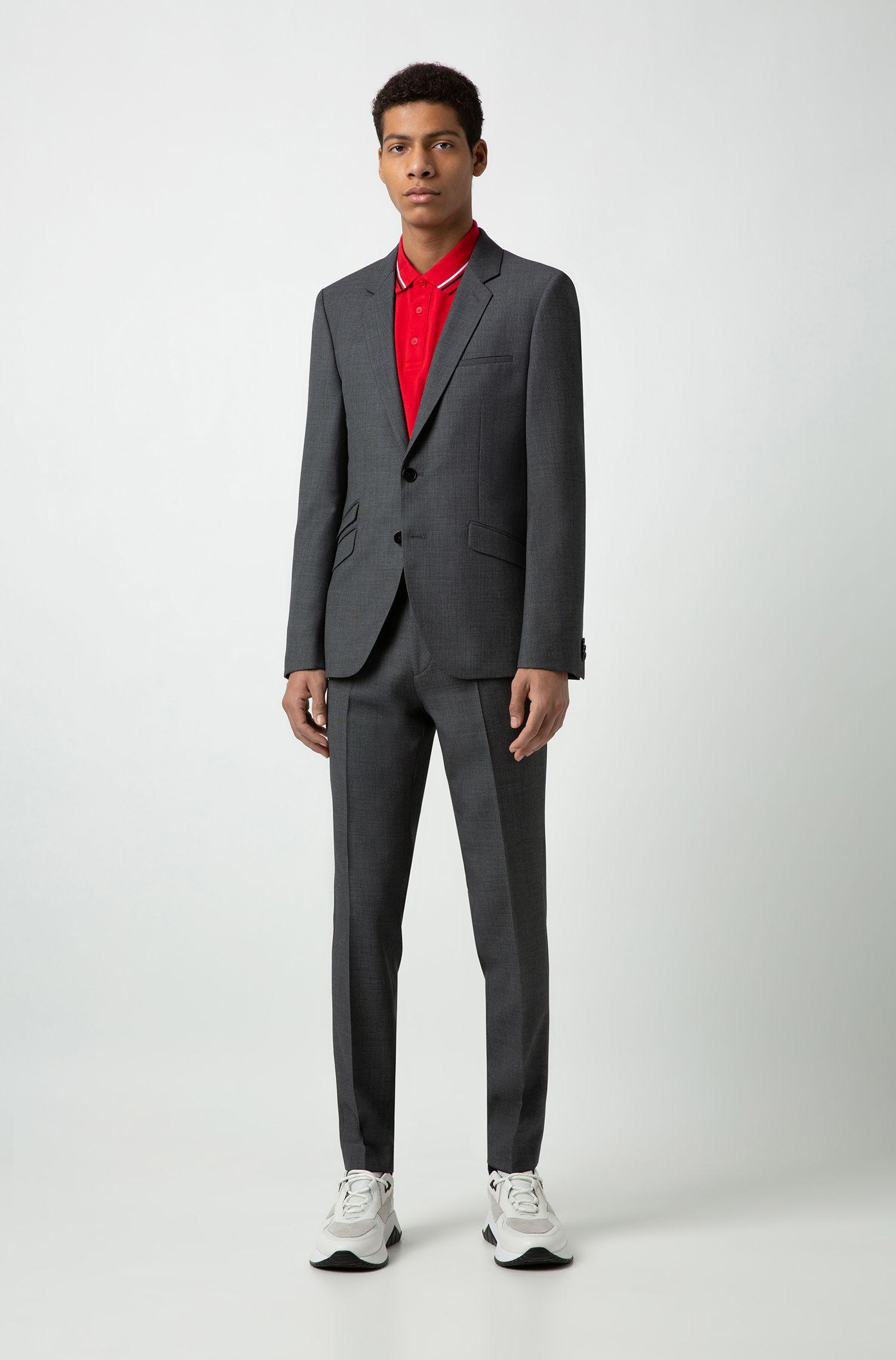 Polo Regular Fit en coton à rayures contrastantes, Rouge