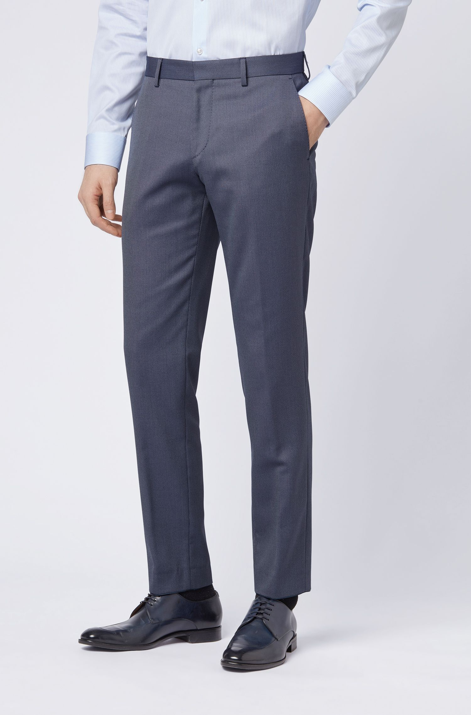 Travel Line slim-fit trousers in a washable fabric, Open Blue